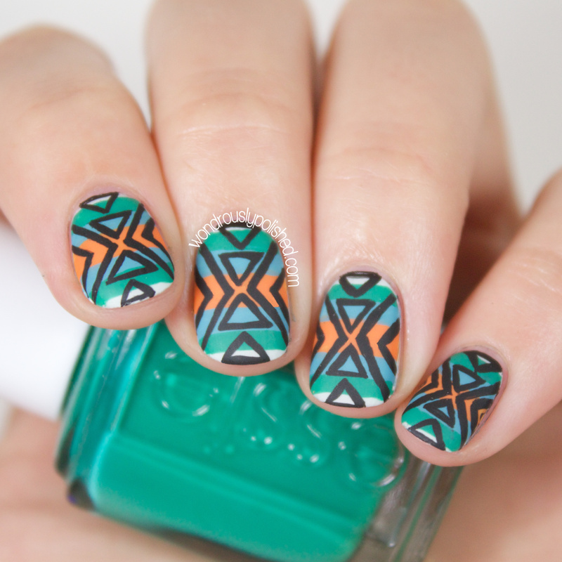 Wondrously Polished The Hunt Mani Monday Fall Aztec Nail Art