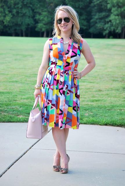 fractal prism split neck dress, cotton dress, summer dress