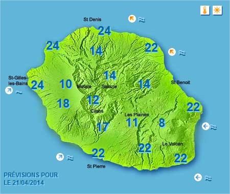 Prévisions météo Réunion pour le Lundi 21/04/14