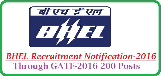 BHEL Recruitment Notification | Bharath Heavy Electronics Limited BHEL Recruitment Notification through GATE-2016 | Recruitment Notification from BHEL for 200 trainee Engineers through GATE-2016 | 200 Trainee Engineers Recruitment Notification from BHEL through GATE-2016 http://www.tsteachers.in/2016/01/bhel-trainee-engineers-recruitment-notification-2016-through-gate.html