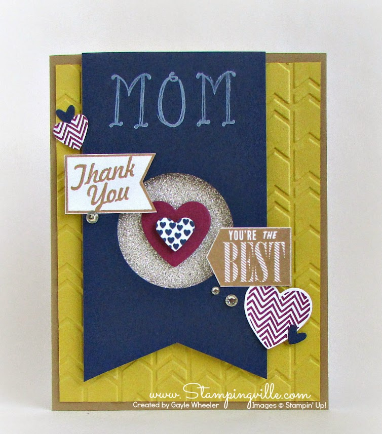 Sweet card to tell Mom Thanks-You're The Best! #Stampingville #StampinUp #cardmaking