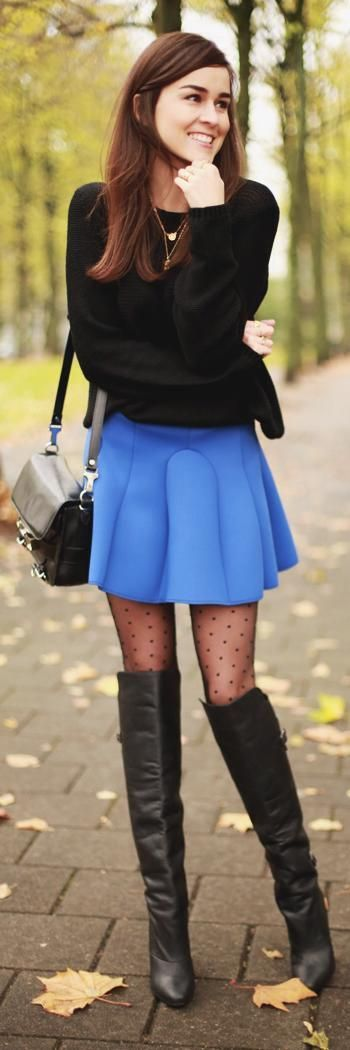 Street fashion sweater blue skirt polka dots tights and over the knee boots