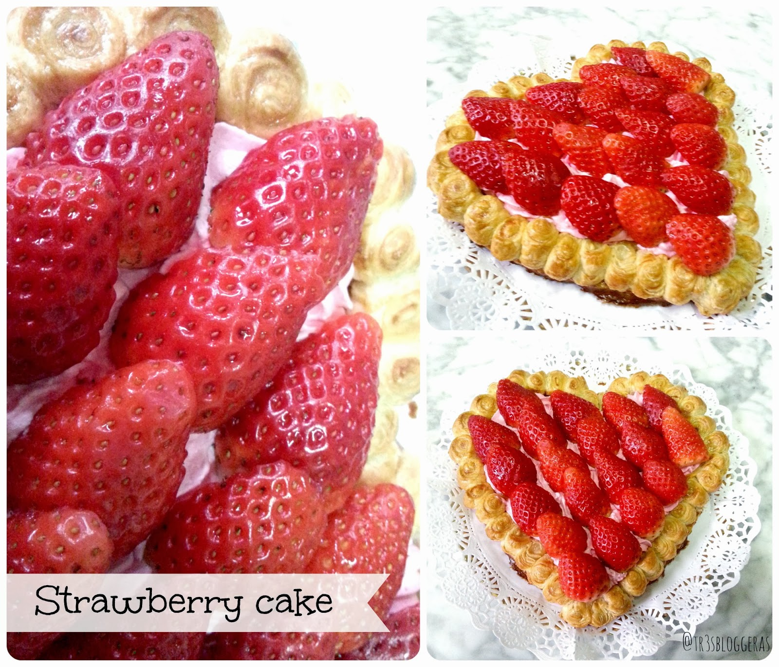 strawberry cake - tarta hojaldre rellena de crema y fresas San Valentín