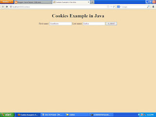 An application on cookies in Java servlets