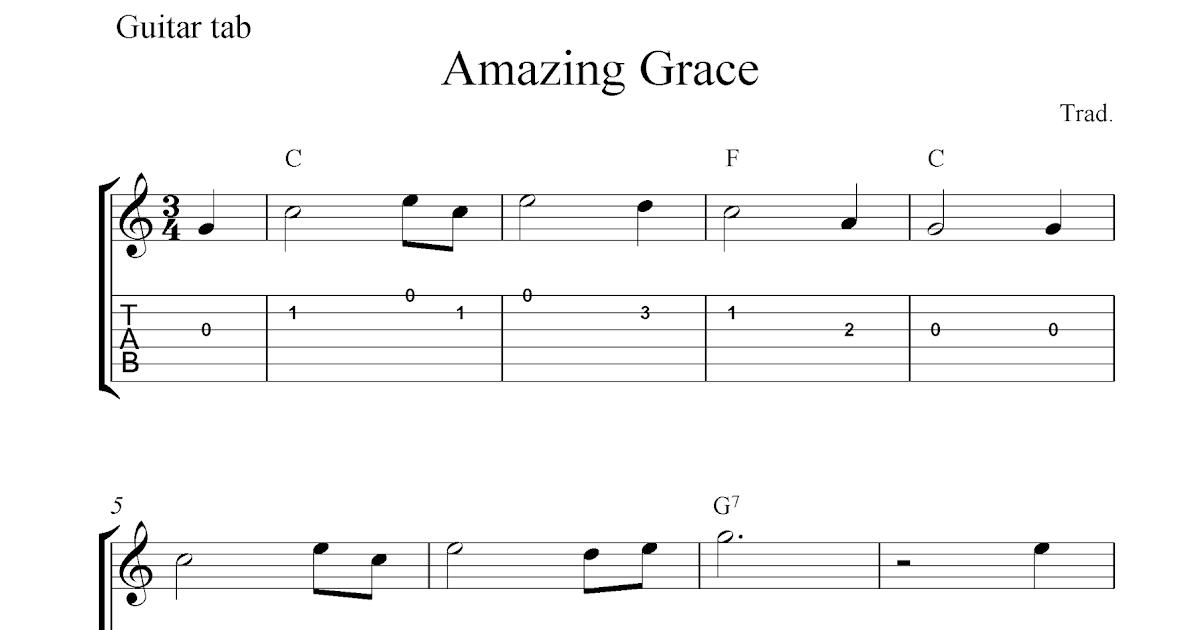 Amazing Grace, free guitar tablature sheet music