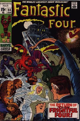 Fantastic Four #94, the Frightful Four, including Medusa, attacks the Fantastic Four at night, outside the house of Agatha Harkness who makes her first appearance this issue