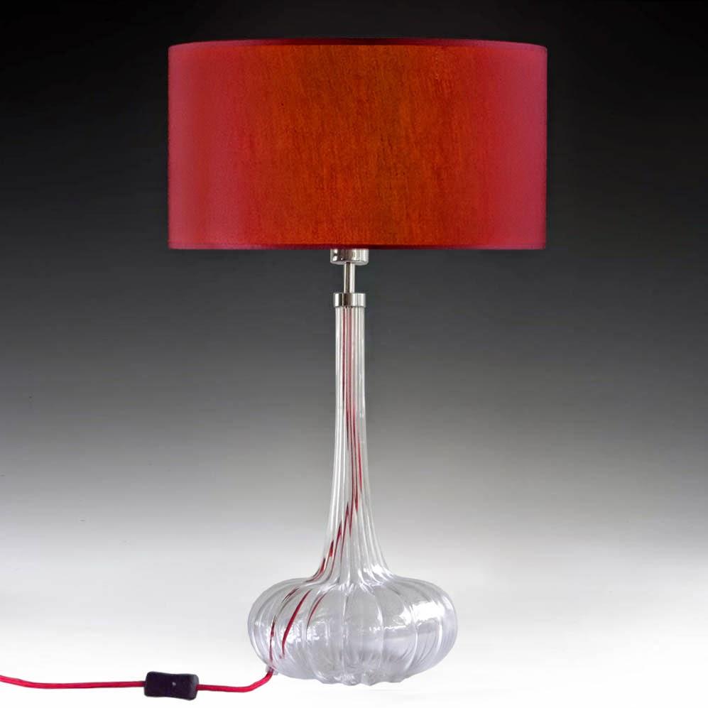 tischleuchten aus glas und kristall moderne rote tischleuchte aus glas ribbed onion. Black Bedroom Furniture Sets. Home Design Ideas