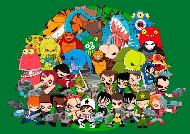 Imagen de familia de los muñecos de Famosa Mutant Busters
