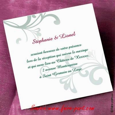 invitation de mariage exemple invitation mariage carte mariage texte mariage cadeau mariage. Black Bedroom Furniture Sets. Home Design Ideas