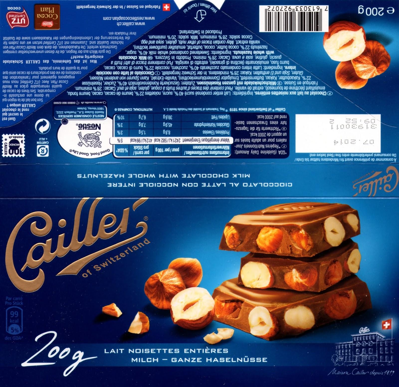 tablette de chocolat lait gourmand cailler lait noisettes entières