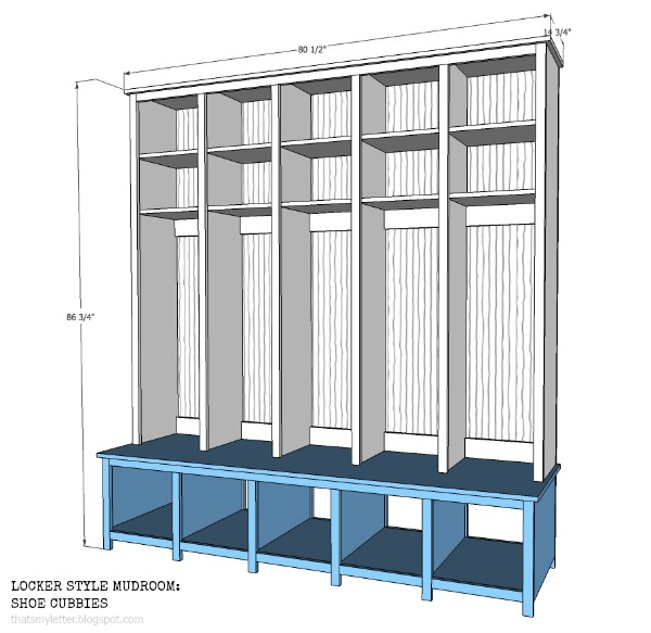 That 39 s my letter locker style mudroom shoe cubbies for Building a mudroom bench