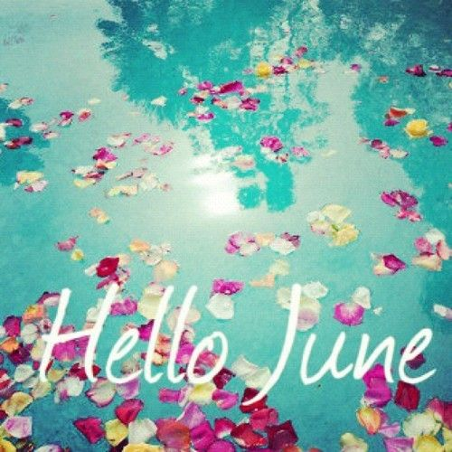 Hello, June card with rose petals