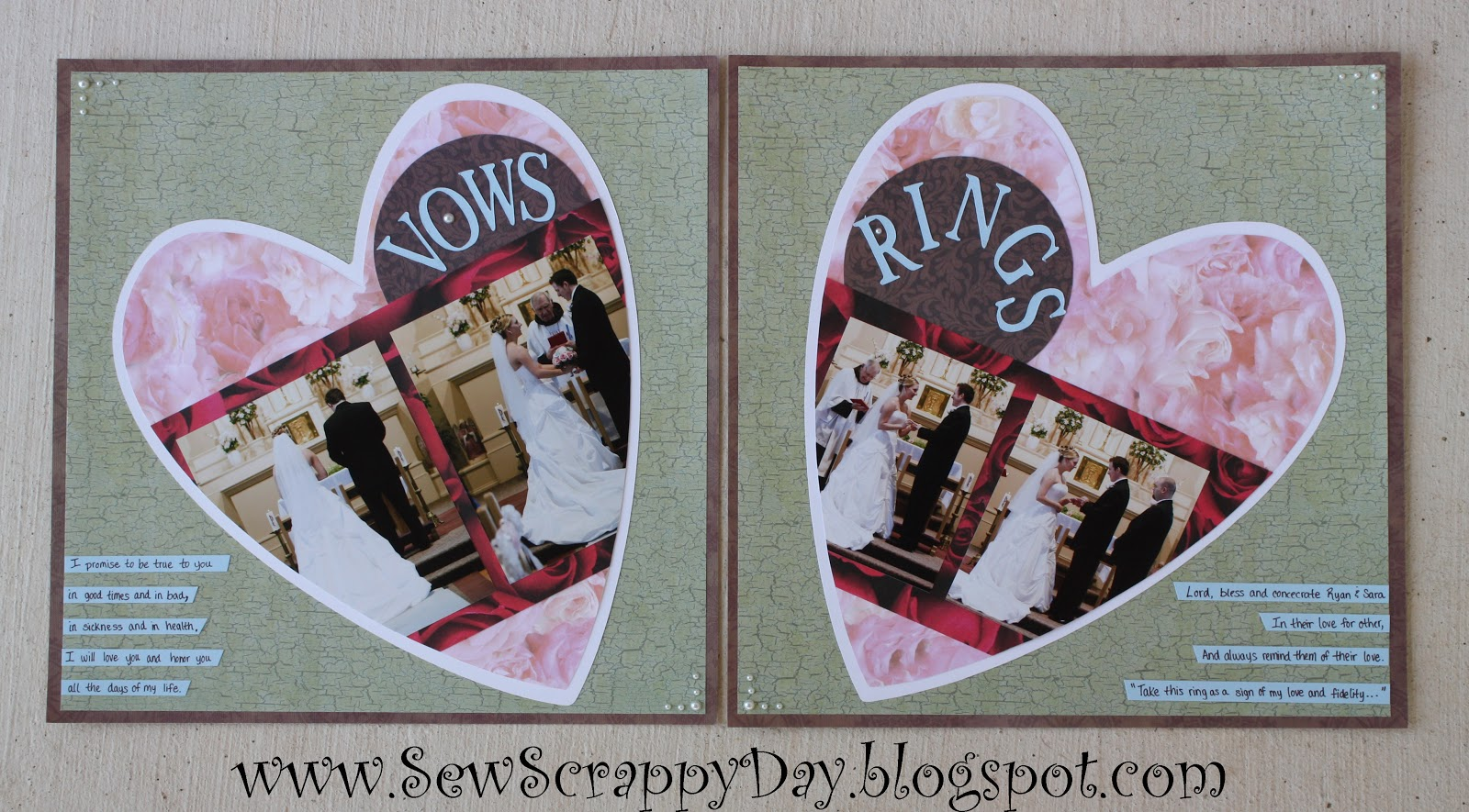 Wedding scrapbook ideas layouts - The Version From The Magazine Was Only A 1 Page Layout For The Wedding Vows But I Quickly Transposed It Into A Two Page Layout By Mirroring The Images And