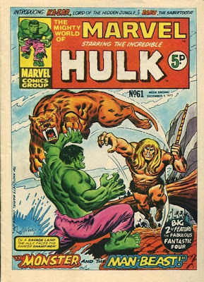 Mighty World of Marvel #61, Ka-Zar and Zabu vs The Hulk