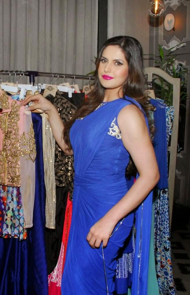 zarine khan cute blue saree photos