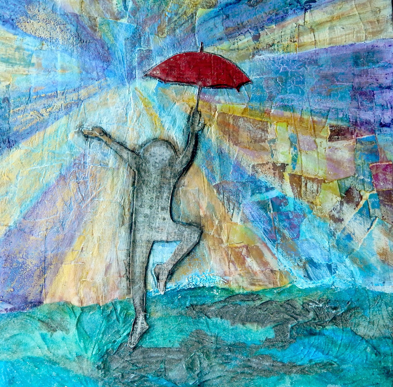 Collage, Mixed Media, Art of Faith North West, Red Umbrella, Umbrella