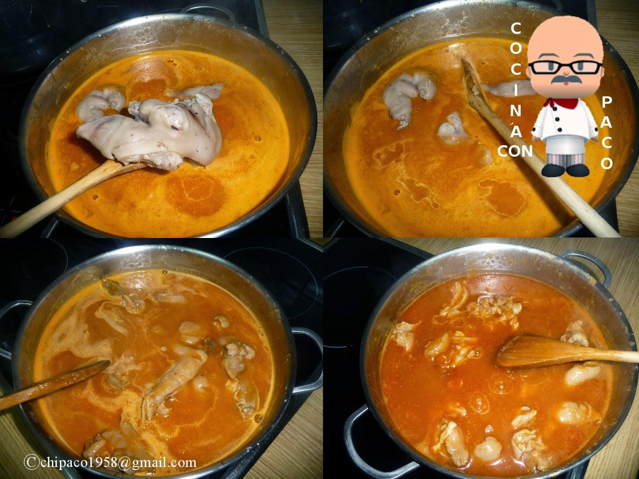 Cocina con paco manos de cerdo con salsa vizca na for Como cocinar manos de cerdo
