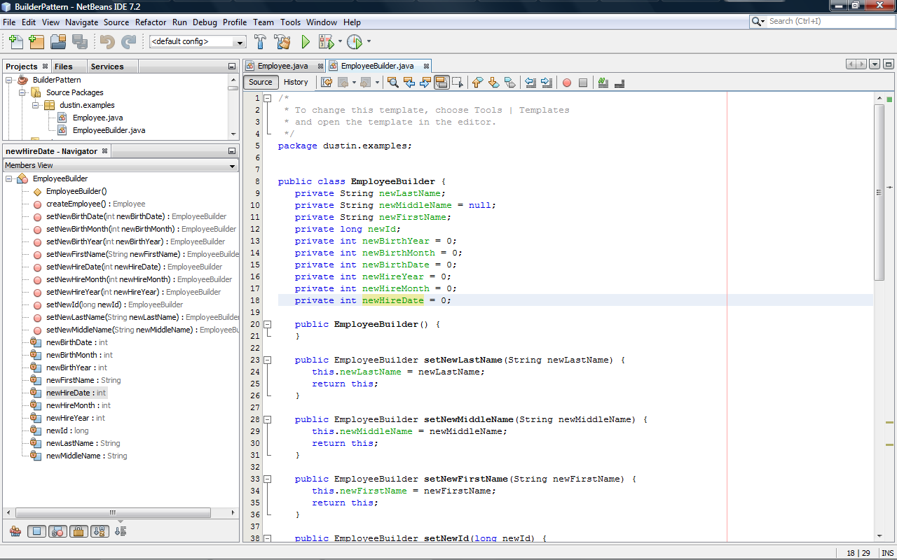Netbeans 7 2 Refactoring Parameterized Constructor As