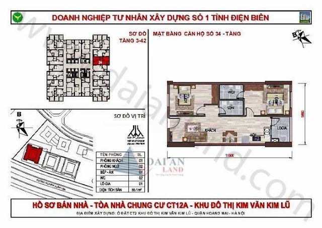 Căn 34 - Tòa CT12A Chung Cư Kim Văn Kim Lũ