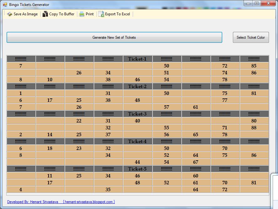 ASPNet C WCF SQL Free Bingo Ticket Generator Downlaod – Free Ticket Generator