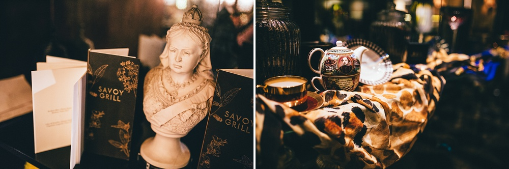 more savoy hotel details including queen and Shakespeare teapot