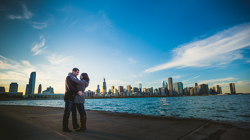 Adler Planetarium Chicago Sunset Engagement Photo