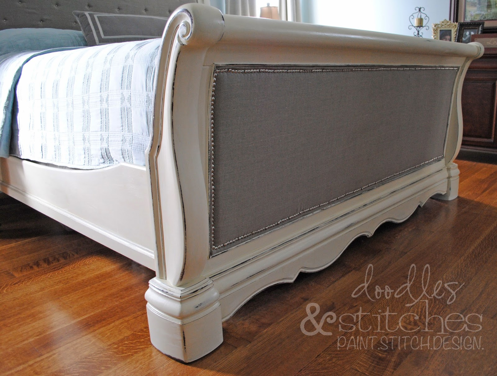 Tufted sleigh bed diy - This Project Was So Much Easier Than I Ever Imagined And That Ugly Old Sleigh Bed The One That I Was Ready To Sell On Craigslist Is Now My Favorite Piece