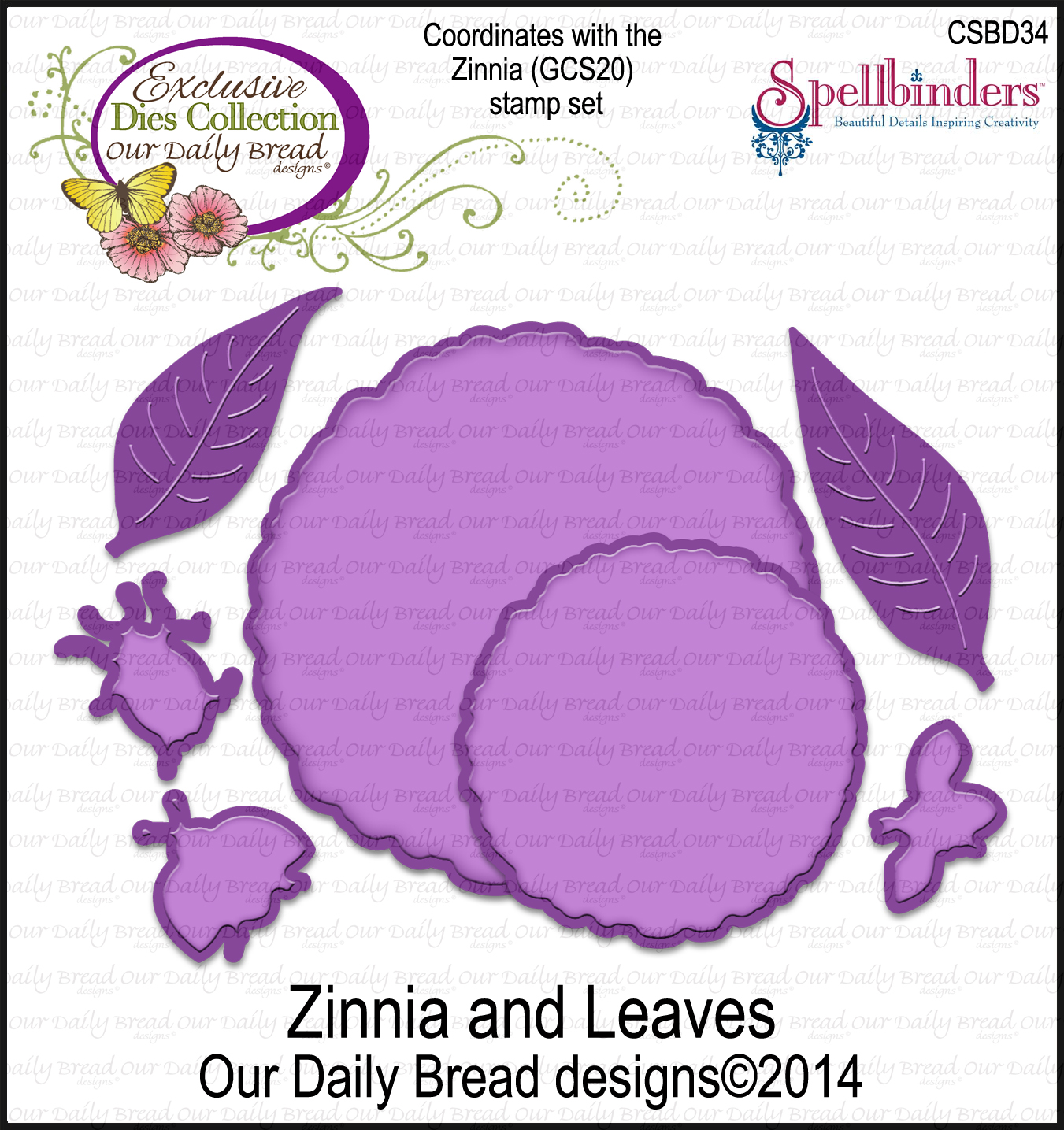 Our Daily Bread Designs Custom Zinnia and Leaves Dies
