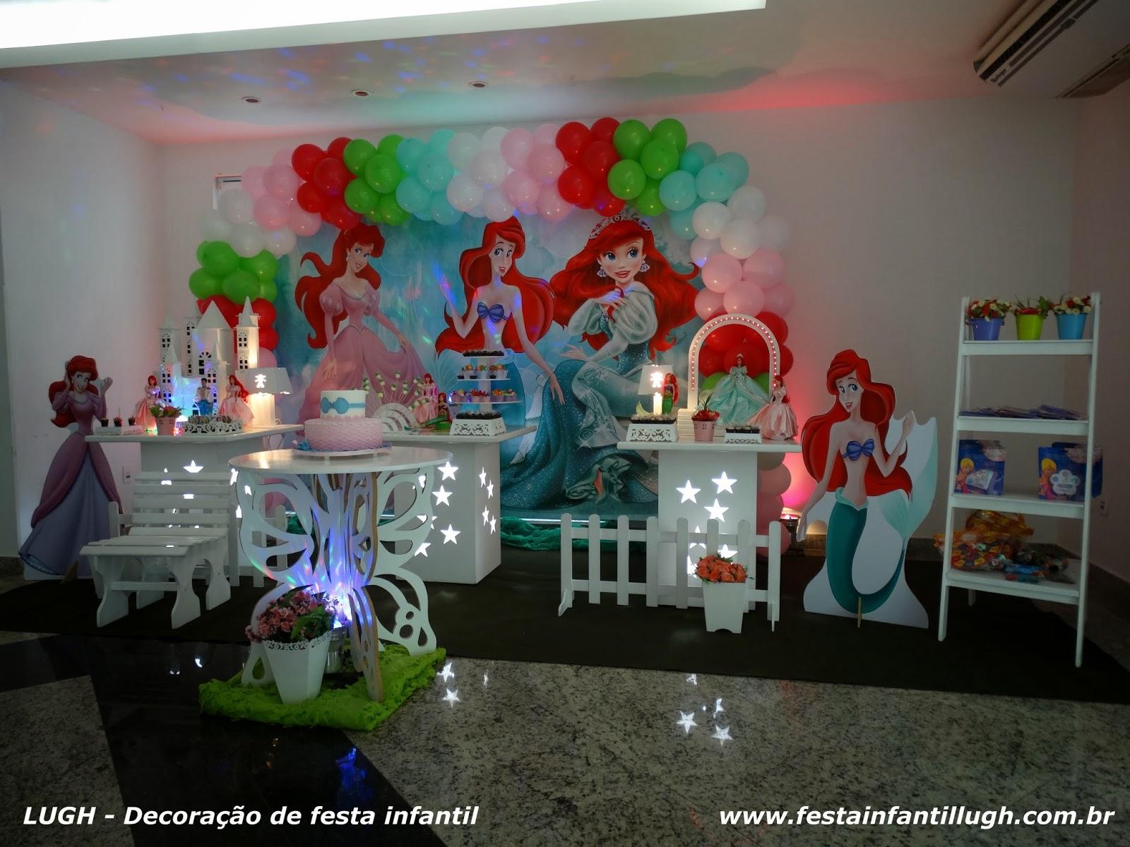 Decoração provençal com o tema Ariel para festa de aniversário realizado na Barra da Tijuca RJ