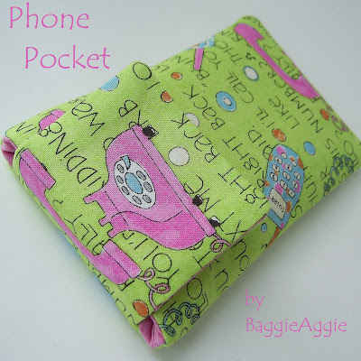 Handmade fabric phone case, padded and fully lined. In pink and green for women and girls.