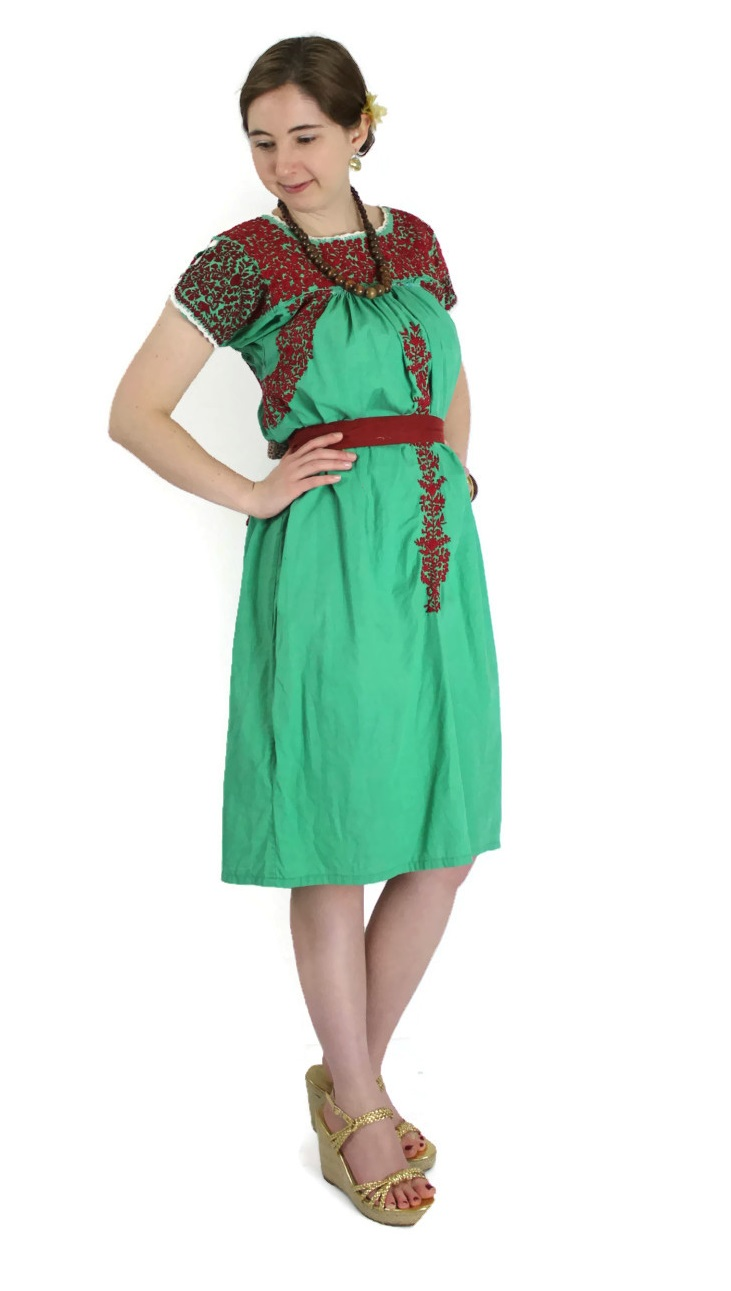 1970s embroidered oaxaca mexican dress kelly green