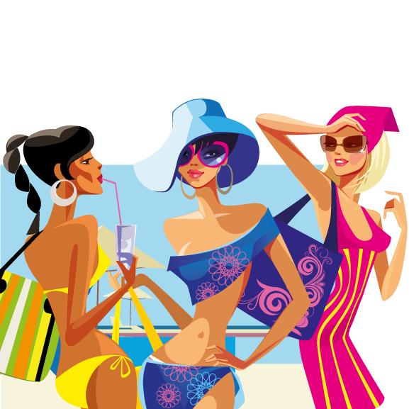Chicas en bañador y vestidas para el baño