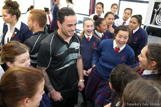 Men L:R: Ihaia West, Zac Guildford, a visit by two of the Hawke's Bay Magpies rugby team to Hastings Girls' High School, Hastings. photograph