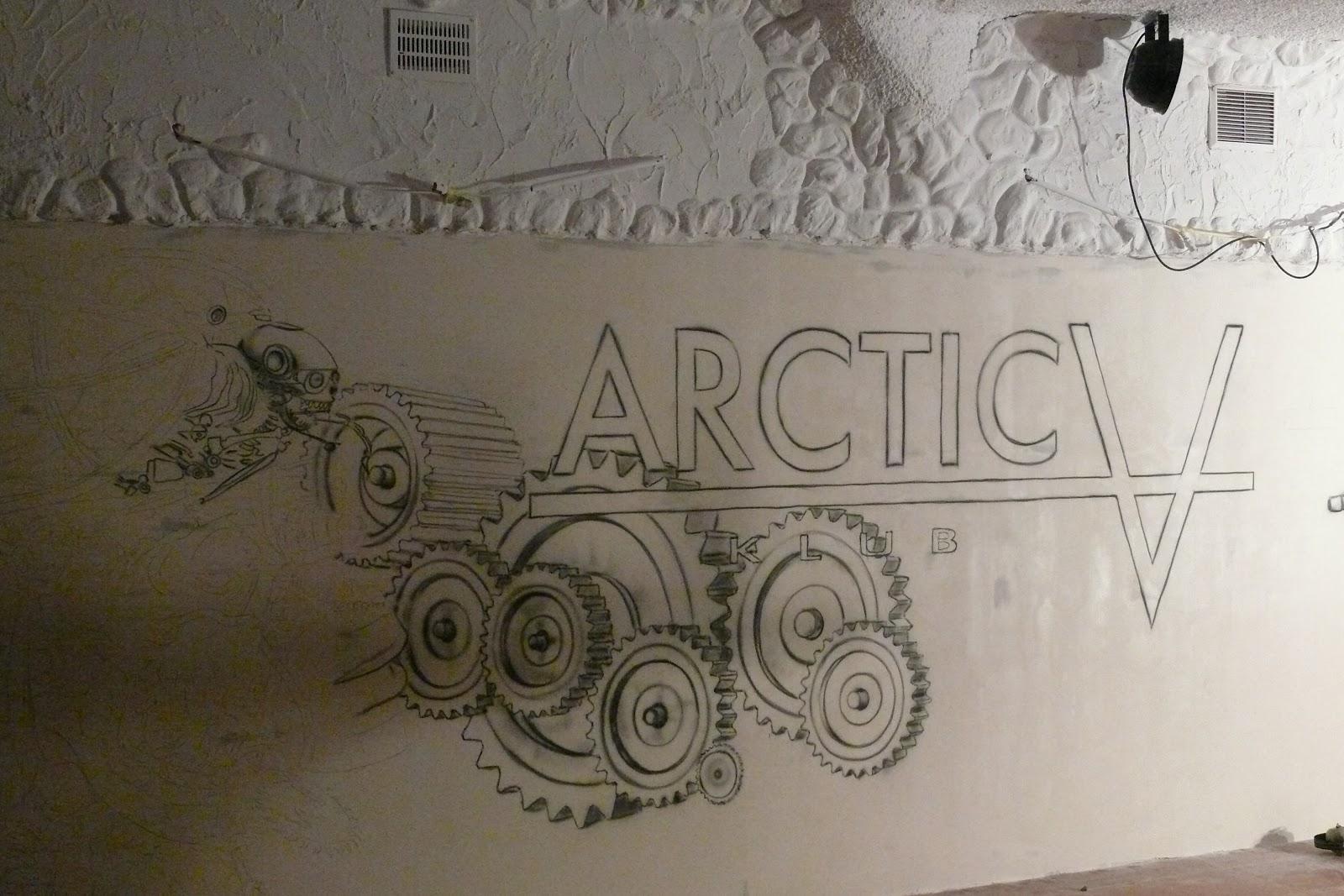 Zagospodarowanie białej ściany w klubie, malowanie grafiti 3D, malowanie loga Arctica Płock