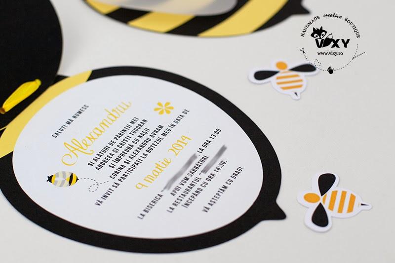 invitatii botez albinute, invitatie albinuta, invitatii handmade, invitatii personalizate botez