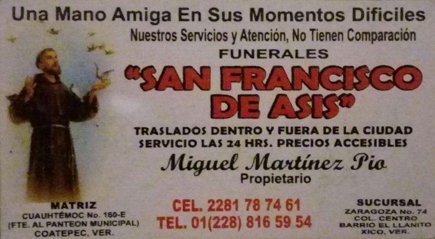 "Funerales "" San Fransisco de Asis"""