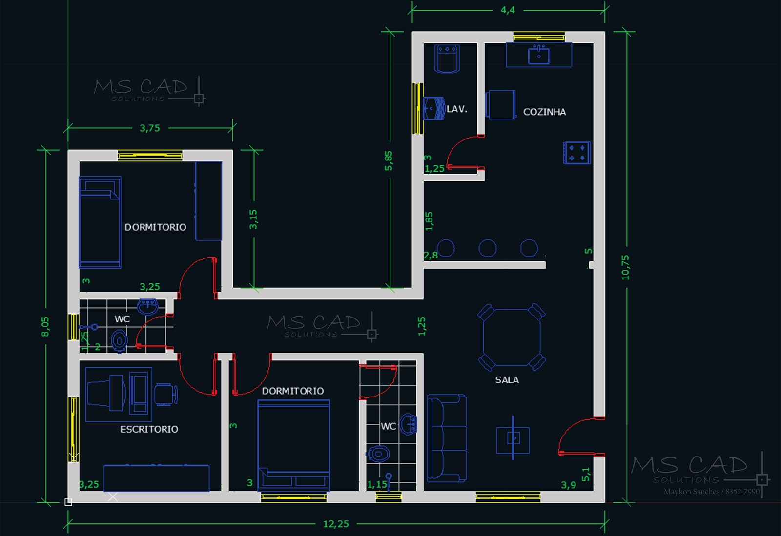 MS CAD Solutions: Projeto Plantas Baixas e Peça Mecânica 2D #742125 1600 1099