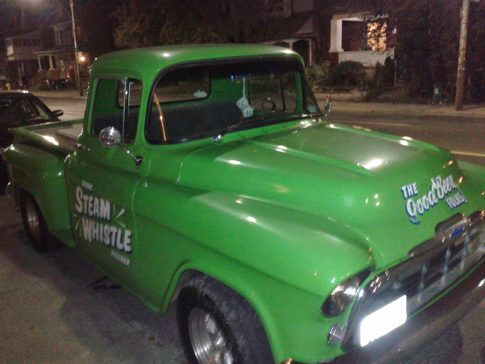 Steam Whistle green pick up truck