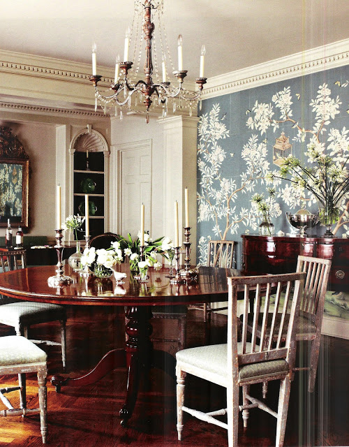 The glam pad blue de gournay and gracie wallpapered for Kitchen dining room wallpaper