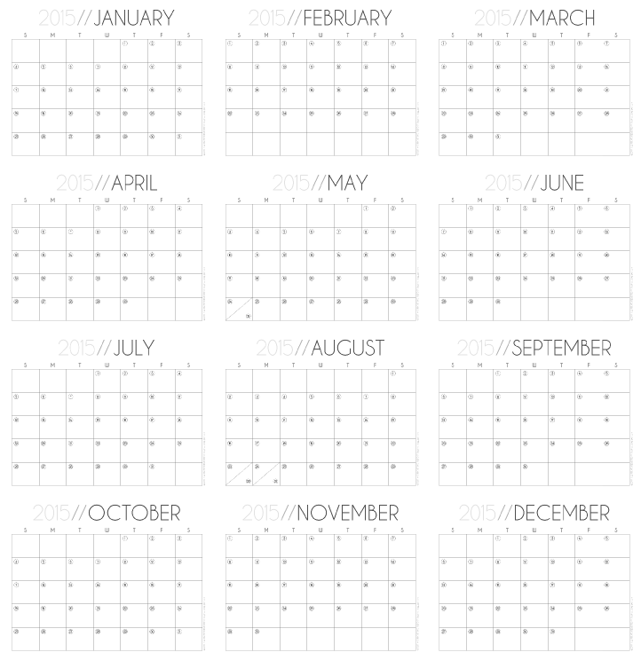 2015 Monthly Calendar Free Printable by Hey, it's SJ