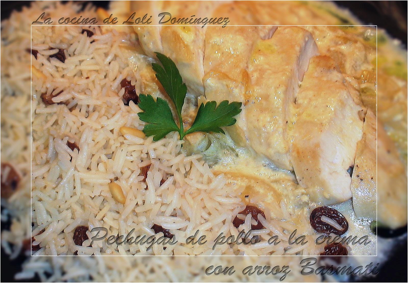 Pechugas de pollo a la cremacon arroz Basmati