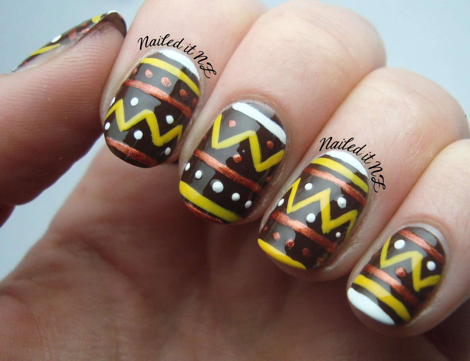 Nailed It NZ: Nail art for short nails #7 - Tribal nails