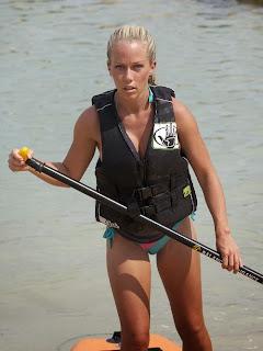 Kendra Wilkinson paddle boarding Bikini Hawaii