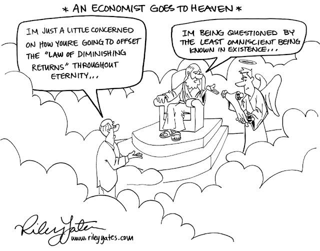 Economist cartoon, Law of Diminishing Returns cartoon, Omniscience cartoon