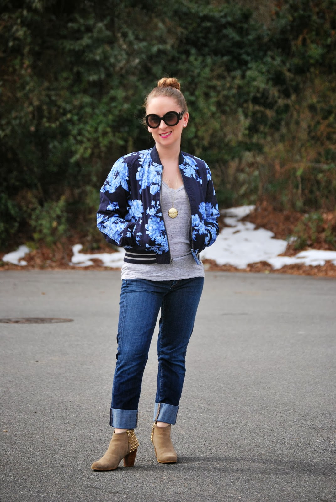 Gap, floral, bomber jacket, Citizens of Humanity denim, JCrew Linen Tee, House of Harlow, Haute Child in the City, Chelsea MacMeekin