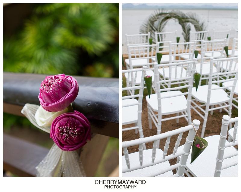 Pink Lotus themed, chiavari chairs, pink petal confetti, ceremony on the beach, Koh Samui wedding