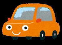 車のキャラクターのイラスト(オレンジ)
