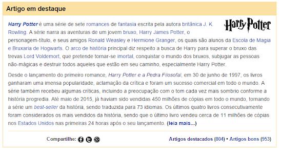 'Harry Potter' é o artigo em destaque da Wikipédia em português | Ordem da Fênix Brasileira