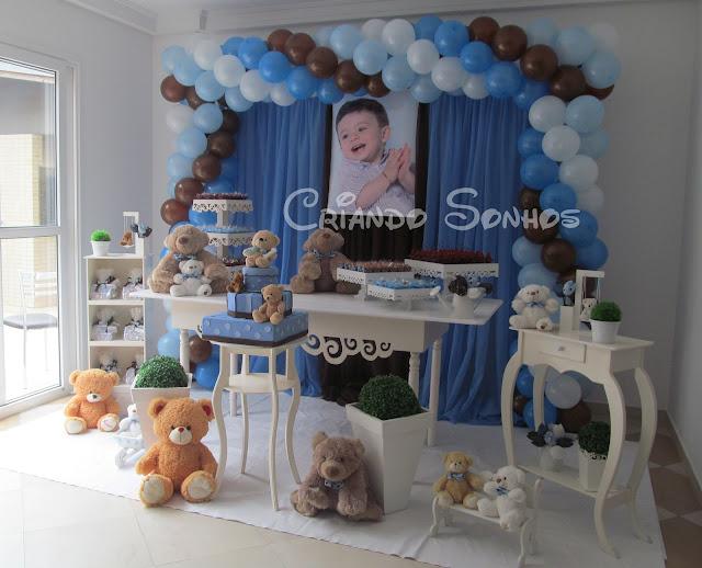 decoracao festa urso azul e marrom:Criando Sonhos: Decoração de festa Infantil Ursos Azul e Marrom