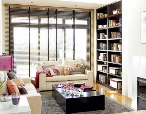 C mo organizar una biblioteca en el living room sala de for Muebles bibliotecas para living